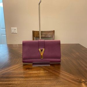 Yves Saint Laurent Clutch Purple Leather Purse